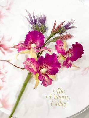Sugar Orchids and Lavender - Cake by Ashwini Sarabhai