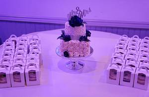 Champagne, Navy and Silver Wedding - Cake by Celene's Cuisine
