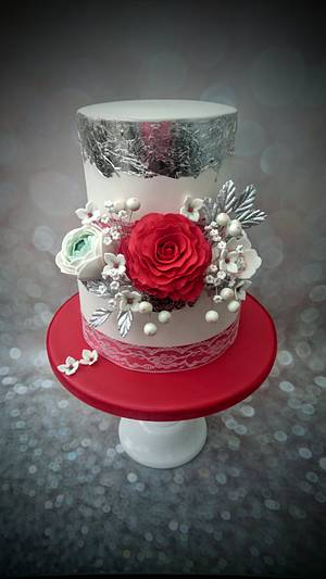 Red & Silver Wedding Cake - Cake by Clairey's Cakery