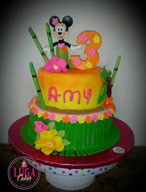 Hawaiian Minnie Mouse - Cake by Luga Cakes