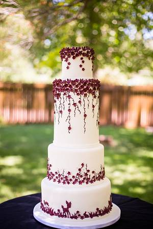 Burgundy Wedding - Cake by Kendra's Country Bakery