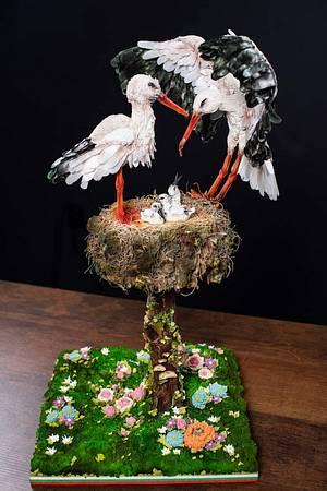 """Sugar sculpture """"Family of storks"""" - Cake by Rositsa Aleksieva"""