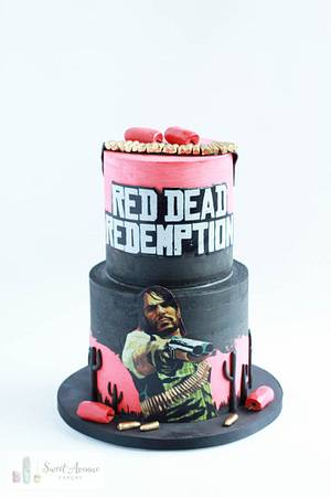 Red Dead Redemption gaming cake - Cake by Sweet Avenue Cakery
