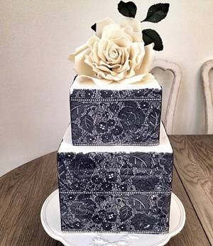 Engagement Cake with White Rose  - Cake by ELİF ERGİN