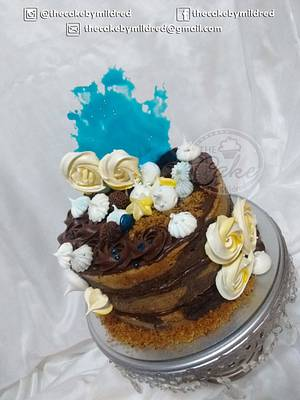 Yellow, blue and chocolate fantasy - Cake by TheCake by Mildred