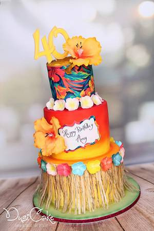 Colourful Hawaiian Cake - Cake by DusiCake