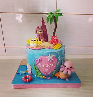 Sky and friends on a vaccation - Cake by Tortalie