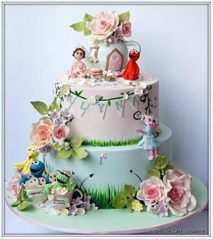 Sesame Street Garden Tea Party - Cake by Jo Finlayson (Jo Takes the Cake)