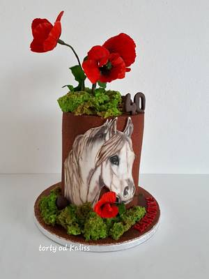 B-day horse and poppies - Cake by Kaliss