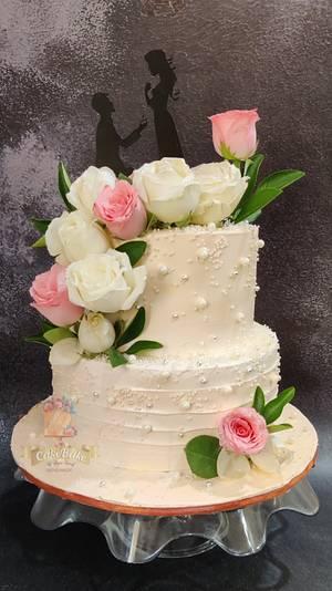 Engagement cake in whipped cream - Cake by Cakebake