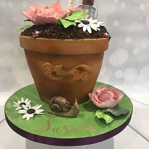Flower pot - Cake by bakemydayiom