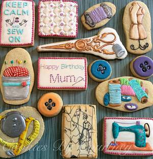 Sewing Themed Birthday Cookies  - Cake by CookiesByCourtney
