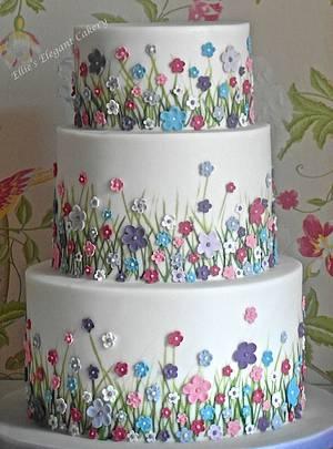 Summer meadow wedding cake  - Cake by Ellie @ Ellie's Elegant Cakery