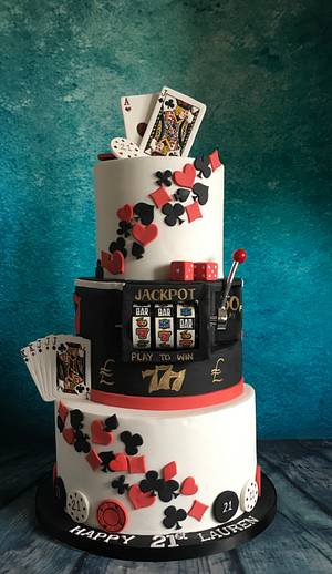 Casino poker theme 21st cake with slot machine - Cake by Maria-Louise Cakes