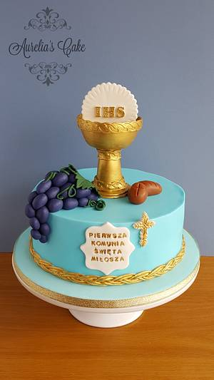 First Communion cake in blue. - Cake by Aurelia's Cake