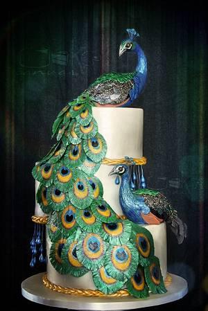 Peacocks in Cotillion Cake - Cake by Anna Mathew Vadayatt