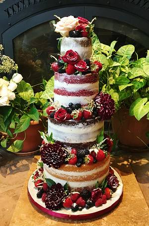 Rustic Naked Wedding Cake - Cake by Kendra's Country Bakery