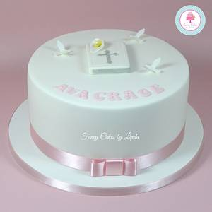 Simple Bible, Cala Lily, Dove Christening, Baptism or Communion Cake - Cake by Ceri Badham