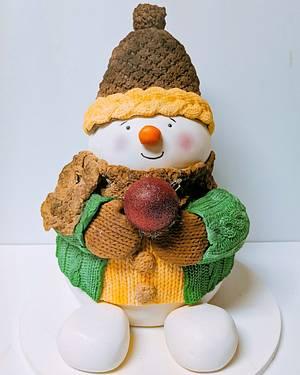 Cozy Snowman - Cake by twinklefairycakes