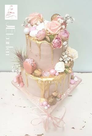 Pink babyshower cake - Cake by Judith-JEtaarten