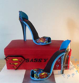 Supergirl stilettos for a super girl! - Cake by Who did the cake (Helen Wilkinson)