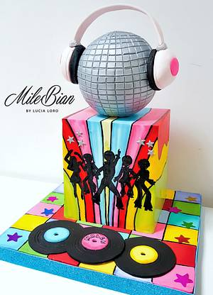Handpainted Disco Party  - Cake by MileBian