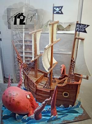 Chocolate sculpture: Kraken attacks a pirate ship! - Cake by Daniel Diéguez