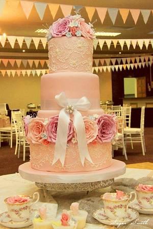 Dusky Rose Wedding Cake - Cake by liesel