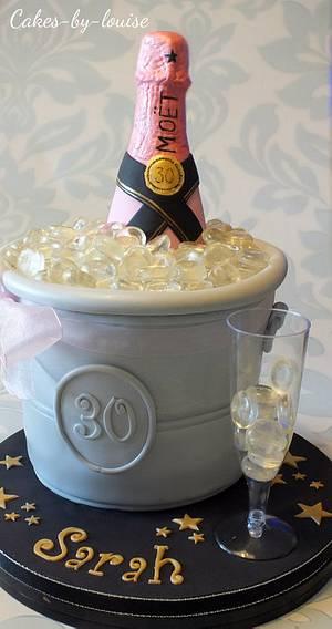 Pink bottle of Moet - Cake by Louise Jackson Cake Design