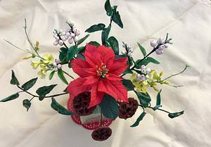 Poinsettia,Winter Jasmine, Snow Berries, Dried Lotus Pods - Cake by Goreti