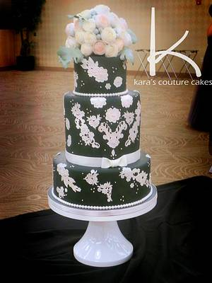 Gray, Vintage Lace, and Wafer Roses Wedding Cake - Cake by Kara's Couture Cakes