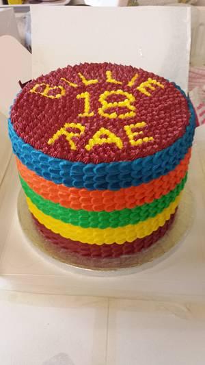 Rainbow 18th Birthday Cake - Cake by Kell77
