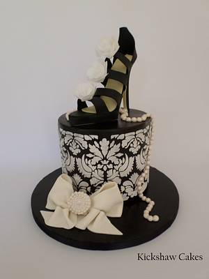 Black and White Sugar Shoe Cake - Cake by Kickshaw Cakes