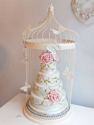 Love birds hand painted cake in bird cage cake stand - Cake by Paula