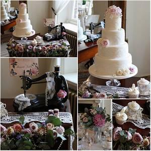 Bobbins & Lace Vintage Wedding Cake - Cake by TiersandTiaras