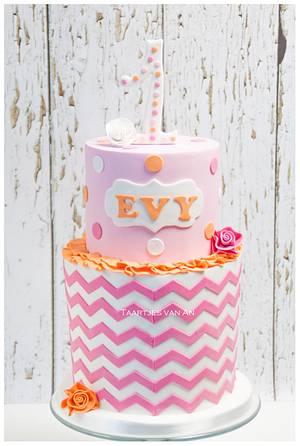 Evy's 1st birthdaycake  - Cake by Taartjes van An (Anneke)