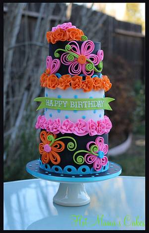 Neon quilling cake - Cake by Hot Mama's Cakes