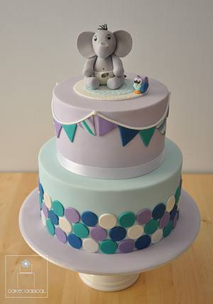 Baby Elephant and Owl Baby Shower Cake - Cake by Cakeadaisical