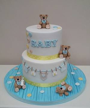 Tumbling Teddies Baby Shower - Cake by The Buttercream Pantry