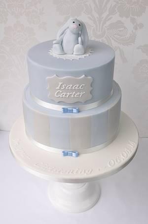 Blue bunny & stripes Christening cake - Cake by Mrs Robinson's Cakes