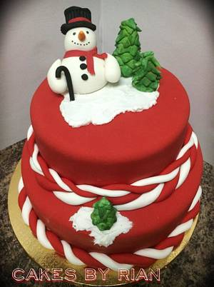 Snowman Holiday Cake - Cake by Cakes By Rian
