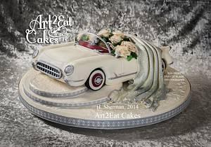 White Corvette Wedding - Cake by Heather -Art2Eat Cakes- Sherman