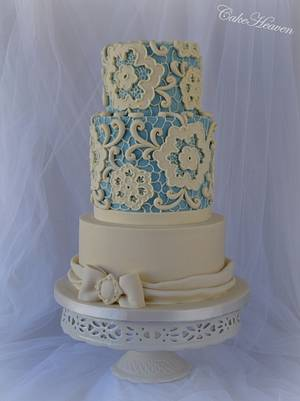 Blue and Ivory Lace Cake - Cake by CakeHeaven by Marlene