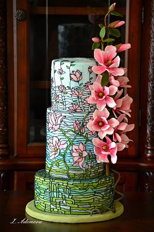 Magnolias Stained Glass Cake - Cake by More_Sugar