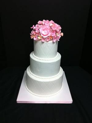 Pink & Peach Wedding Cake :) - Cake by DowntownCityCakes