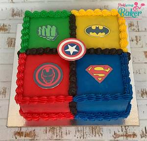Superhero themed multi Coloured ganache cake  - Cake by Pinkle
