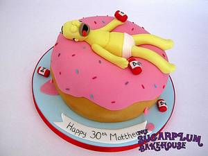 Drunk Homer on a Giant Donut - Cake by Sam Harrison