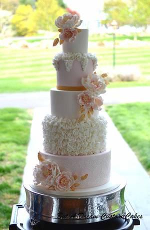 Blush and Gold Wedding Cake - Cake by Elisabeth Palatiello