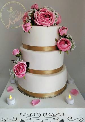 Pink roses wedding cake - Cake by Torte Amela