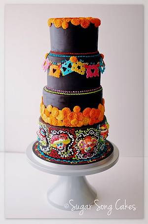 Dia De Los Muertos Wedding Cake Offrenda Table - Cake by lorieleann